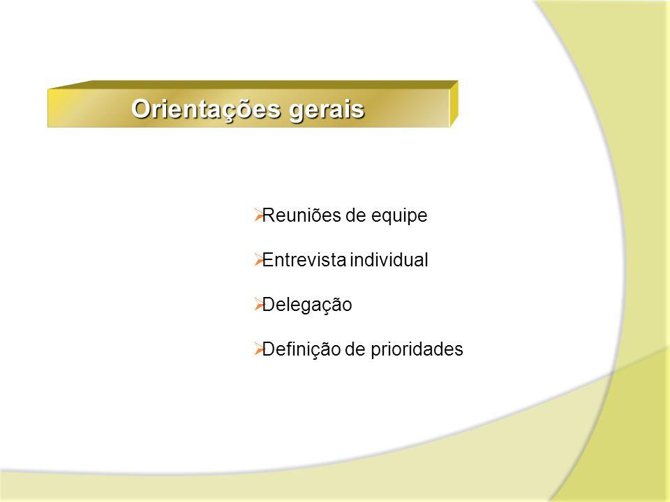 Orientações gerais Reuniões de equipe Entrevista individual Delegação