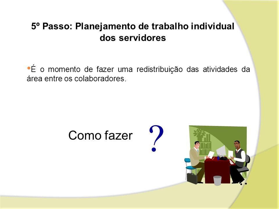 5º Passo: Planejamento de trabalho individual dos servidores