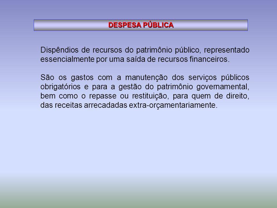 DESPESA PÚBLICA Dispêndios de recursos do patrimônio público, representado essencialmente por uma saída de recursos financeiros.