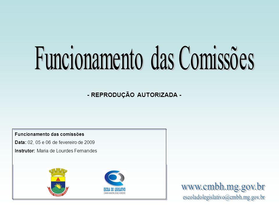Funcionamento das Comissões