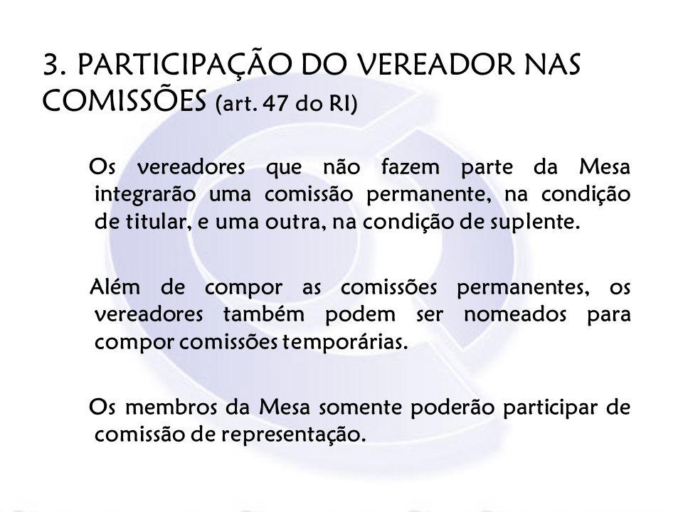 3. PARTICIPAÇÃO DO VEREADOR NAS COMISSÕES (art. 47 do RI)