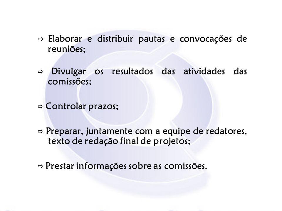  Elaborar e distribuir pautas e convocações de reuniões;