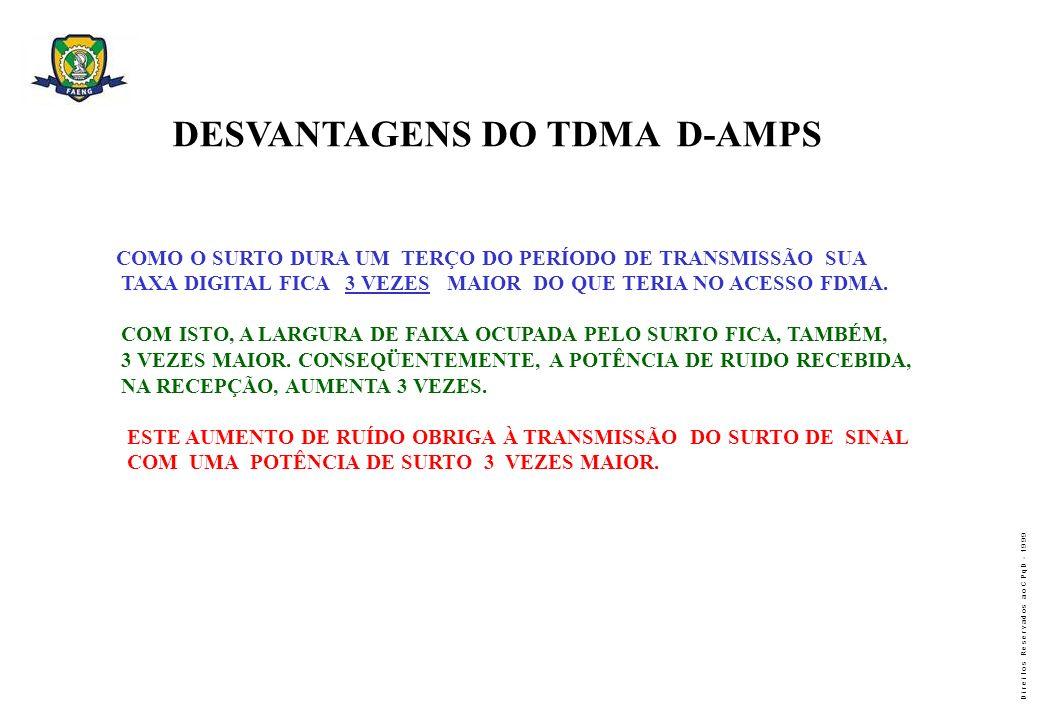 DESVANTAGENS DO TDMA D-AMPS