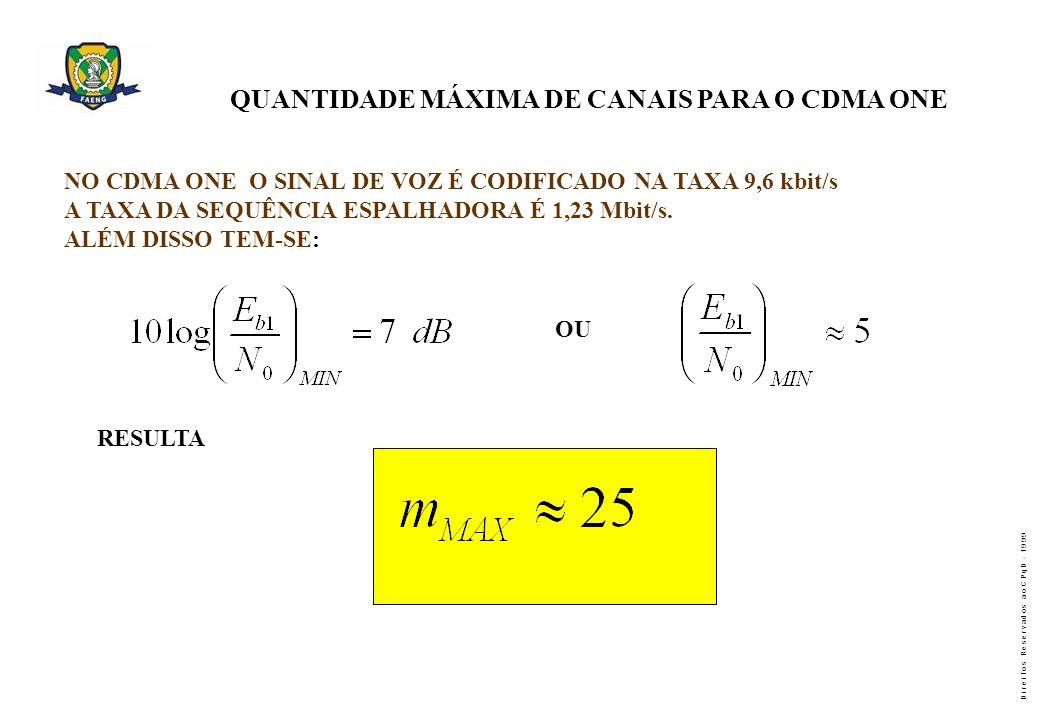QUANTIDADE MÁXIMA DE CANAIS PARA O CDMA ONE