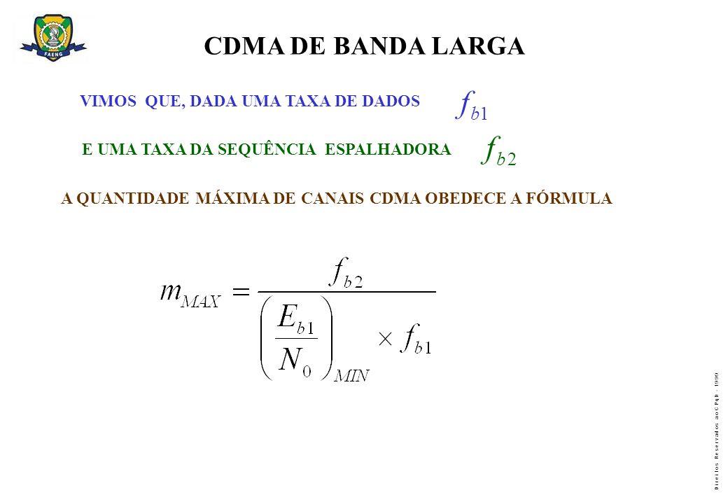 f f CDMA DE BANDA LARGA b 1 b 2 VIMOS QUE, DADA UMA TAXA DE DADOS
