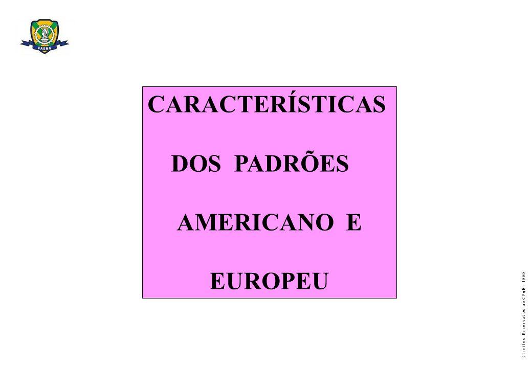 CARACTERÍSTICAS DOS PADRÕES AMERICANO E EUROPEU