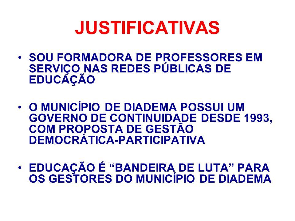 JUSTIFICATIVAS SOU FORMADORA DE PROFESSORES EM SERVIÇO NAS REDES PÚBLICAS DE EDUCAÇÃO.