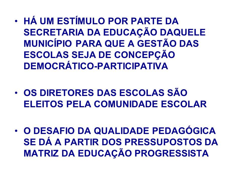 HÁ UM ESTÍMULO POR PARTE DA SECRETARIA DA EDUCAÇÃO DAQUELE MUNICÍPIO PARA QUE A GESTÃO DAS ESCOLAS SEJA DE CONCEPÇÃO DEMOCRÁTICO-PARTICIPATIVA