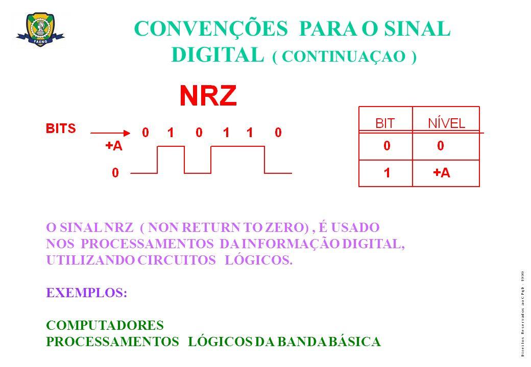 CONVENÇÕES PARA O SINAL DIGITAL ( CONTINUAÇAO )