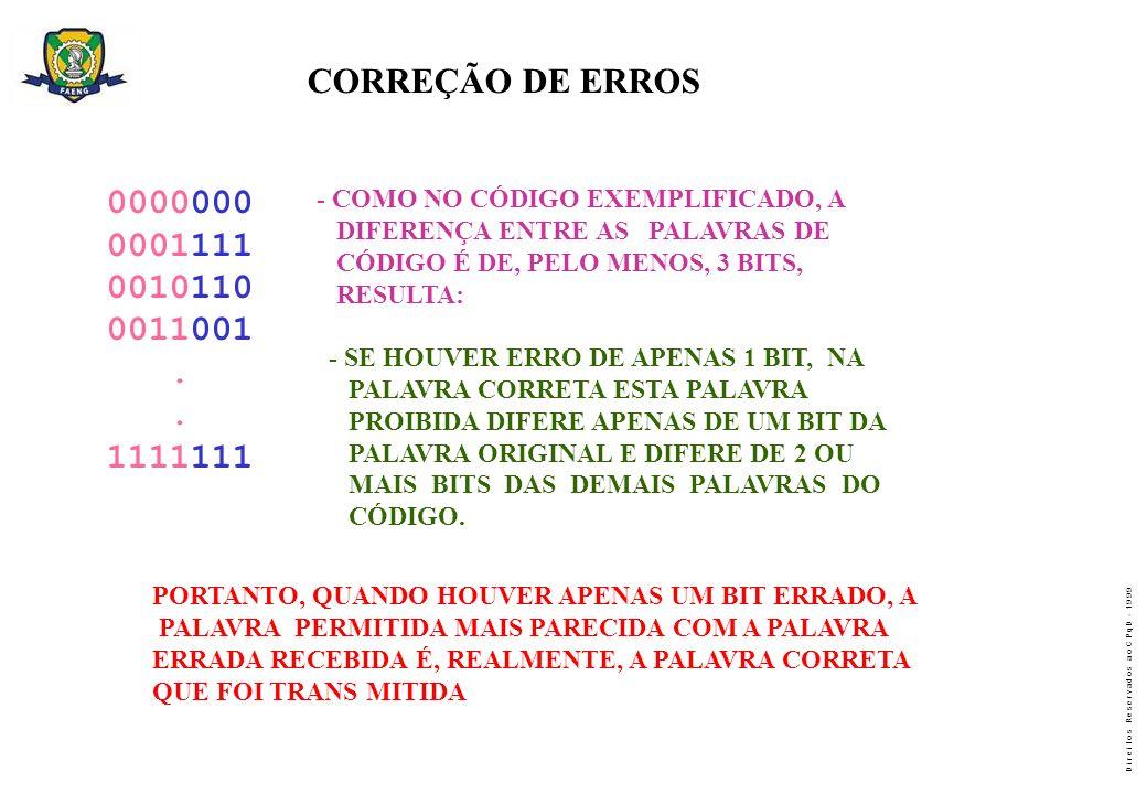 CORREÇÃO DE ERROS 0000000. 0001111. 0010110. 0011001. . 1111111. - COMO NO CÓDIGO EXEMPLIFICADO, A.