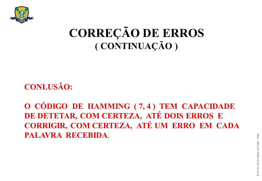 CORREÇÃO DE ERROS ( CONTINUAÇÃO ) CONLUSÃO: