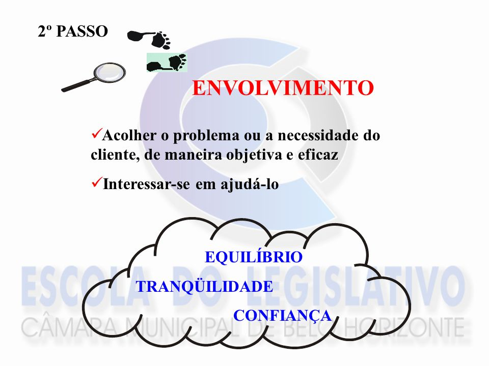 2º PASSO ENVOLVIMENTO. Acolher o problema ou a necessidade do cliente, de maneira objetiva e eficaz.