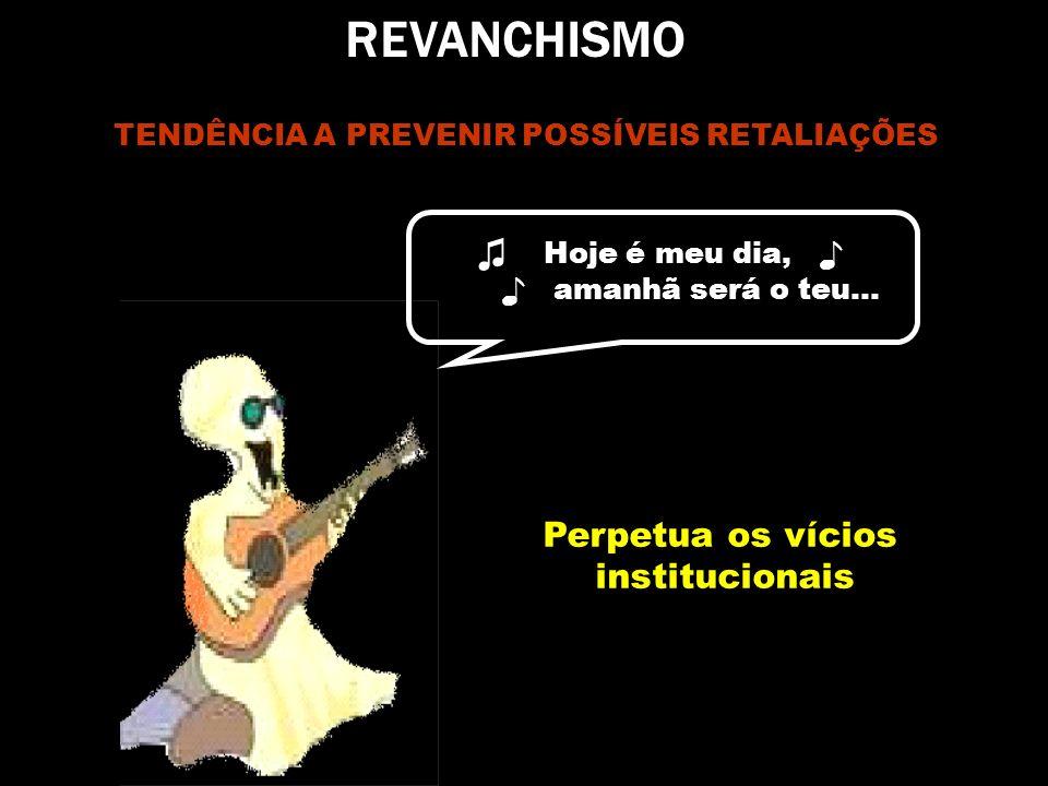 REVANCHISMO ♫ Hoje é meu dia, ♪ Perpetua os vícios institucionais