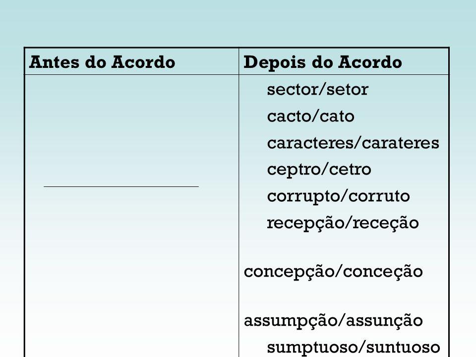 Antes do AcordoDepois do Acordo. sector/setor. cacto/cato. caracteres/carateres. ceptro/cetro. corrupto/corruto.