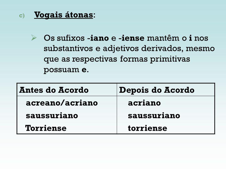 Vogais átonas:Os sufixos -iano e -iense mantêm o i nos substantivos e adjetivos derivados, mesmo que as respectivas formas primitivas possuam e.