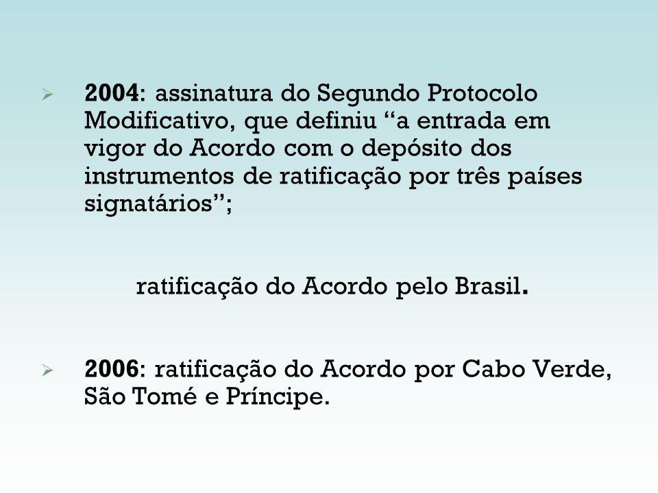 2004: assinatura do Segundo Protocolo Modificativo, que definiu a entrada em vigor do Acordo com o depósito dos instrumentos de ratificação por três países signatários ;
