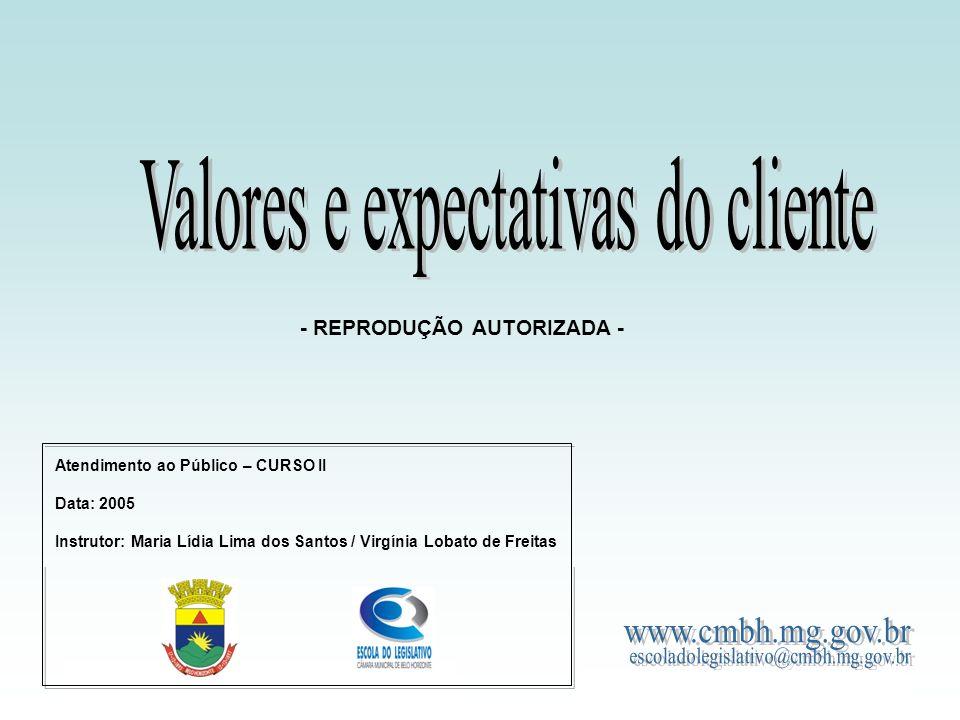 Valores e expectativas do cliente