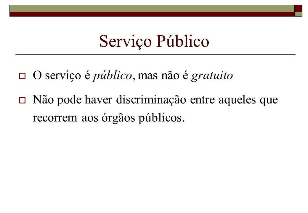 Serviço Público O serviço é público, mas não é gratuito