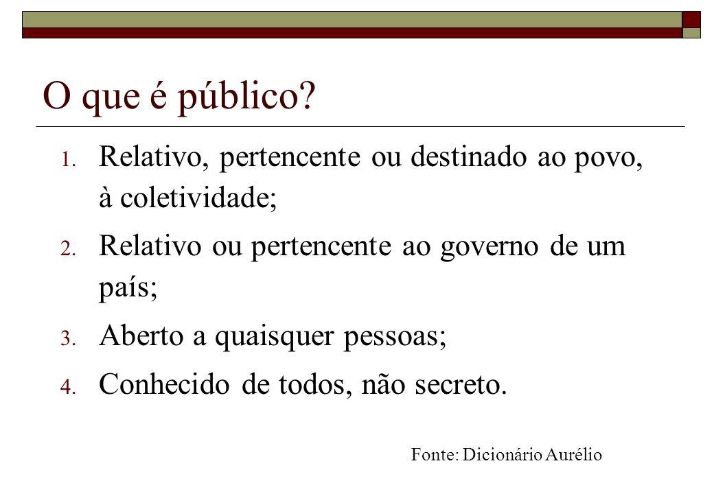 O que é público Relativo, pertencente ou destinado ao povo, à coletividade; Relativo ou pertencente ao governo de um país;