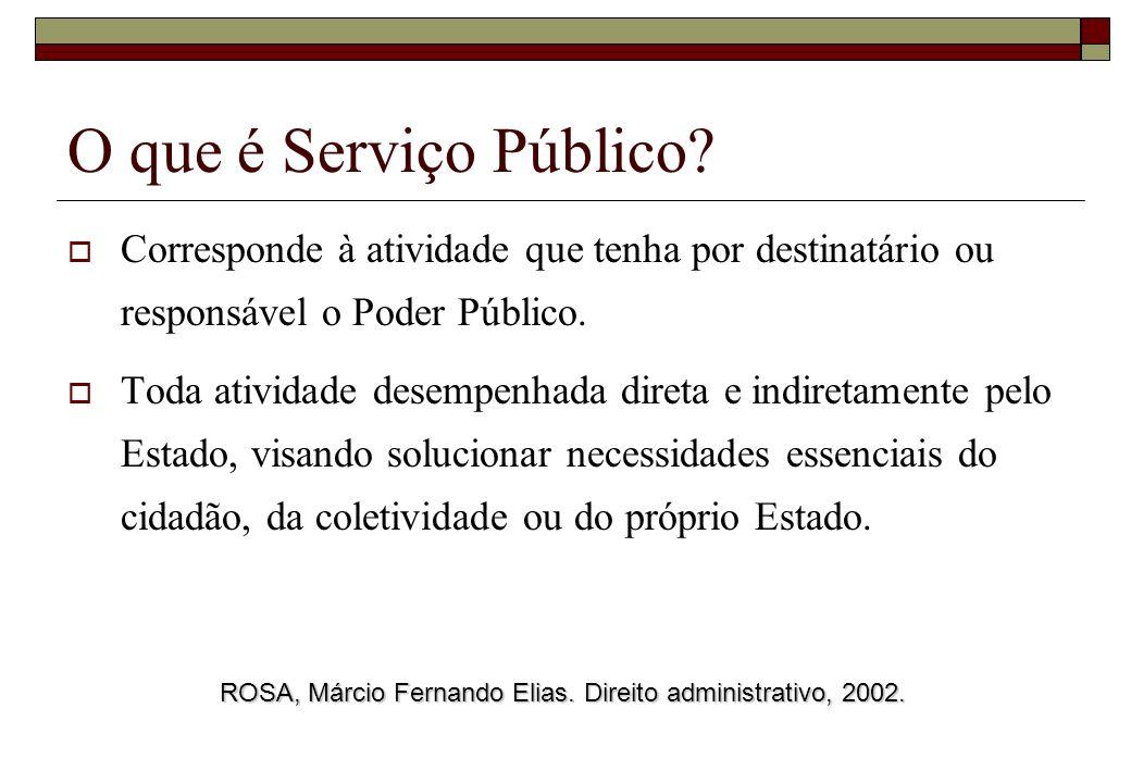 O que é Serviço Público Corresponde à atividade que tenha por destinatário ou responsável o Poder Público.