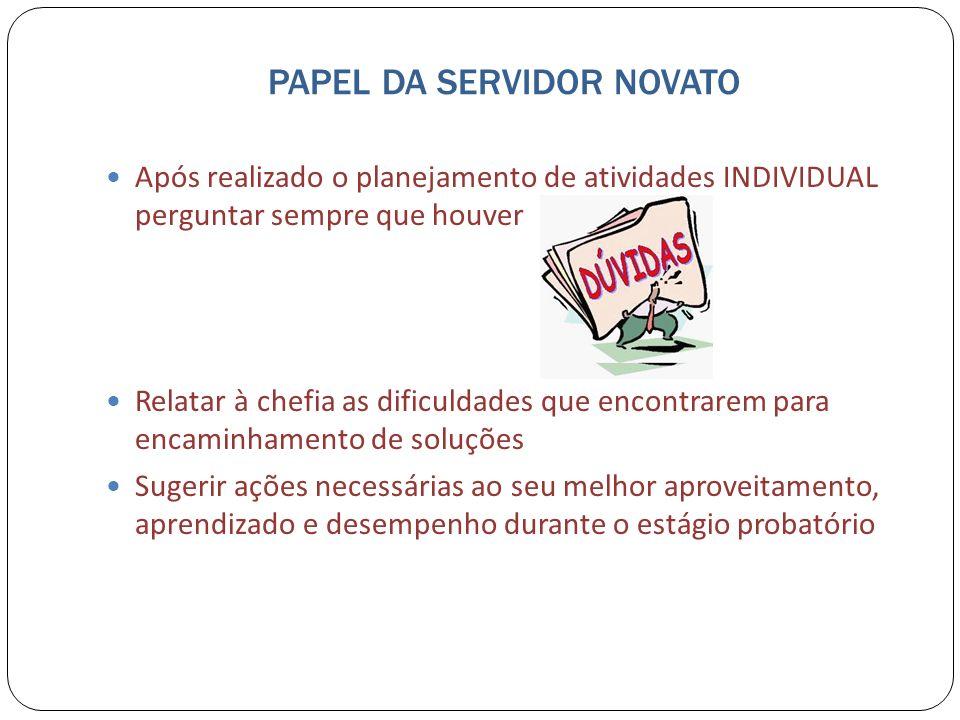 PAPEL DA SERVIDOR NOVATO