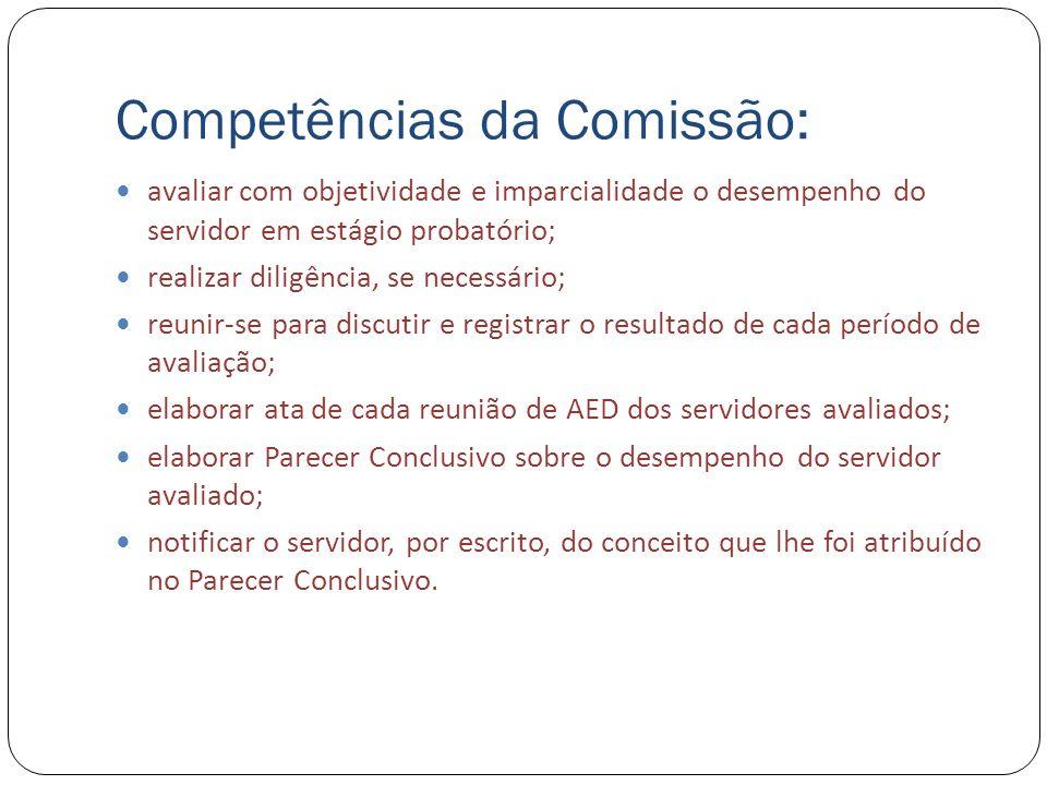 Competências da Comissão: