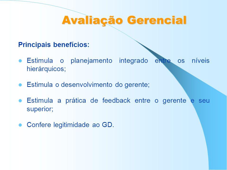 Avaliação Gerencial Principais benefícios: