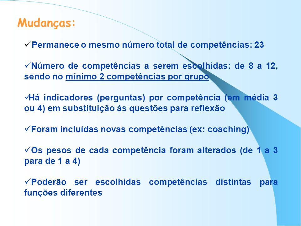 Mudanças: Permanece o mesmo número total de competências: 23.