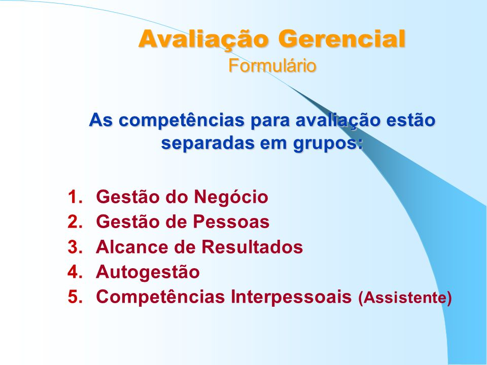Avaliação Gerencial Formulário