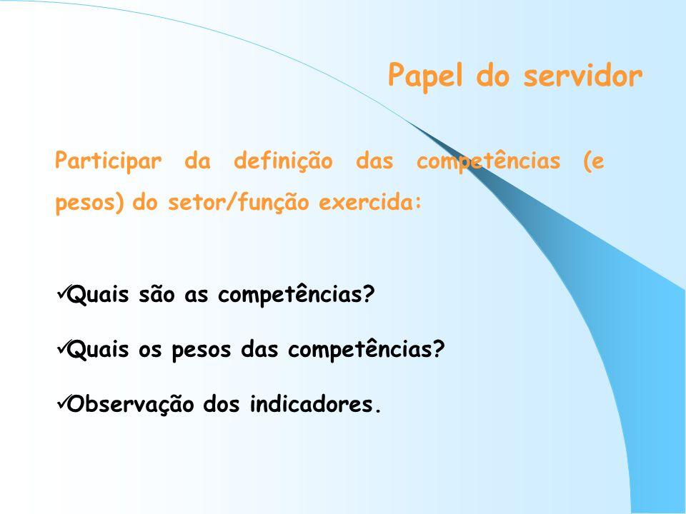Papel do servidor Participar da definição das competências (e pesos) do setor/função exercida: Quais são as competências