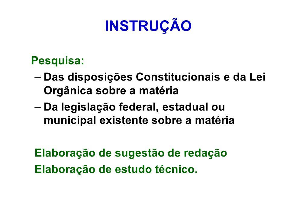 INSTRUÇÃO Pesquisa: Das disposições Constitucionais e da Lei Orgânica sobre a matéria.