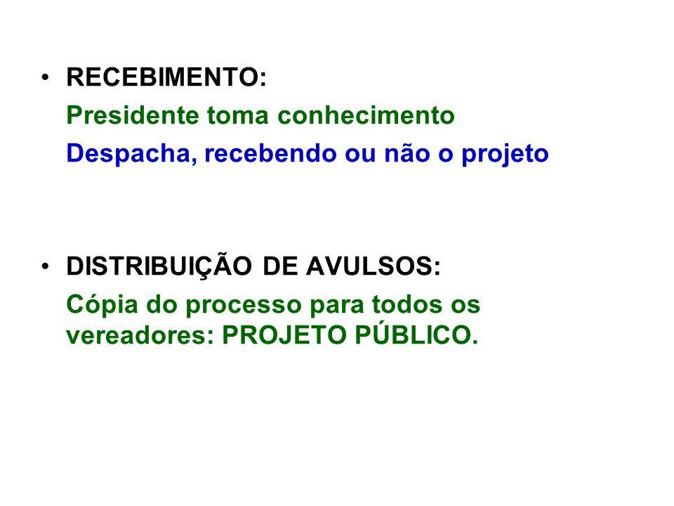 RECEBIMENTO: Presidente toma conhecimento. Despacha, recebendo ou não o projeto. DISTRIBUIÇÃO DE AVULSOS:
