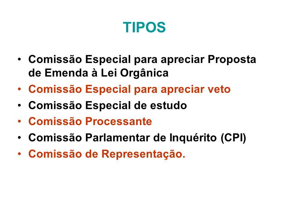 TIPOS Comissão Especial para apreciar Proposta de Emenda à Lei Orgânica. Comissão Especial para apreciar veto.