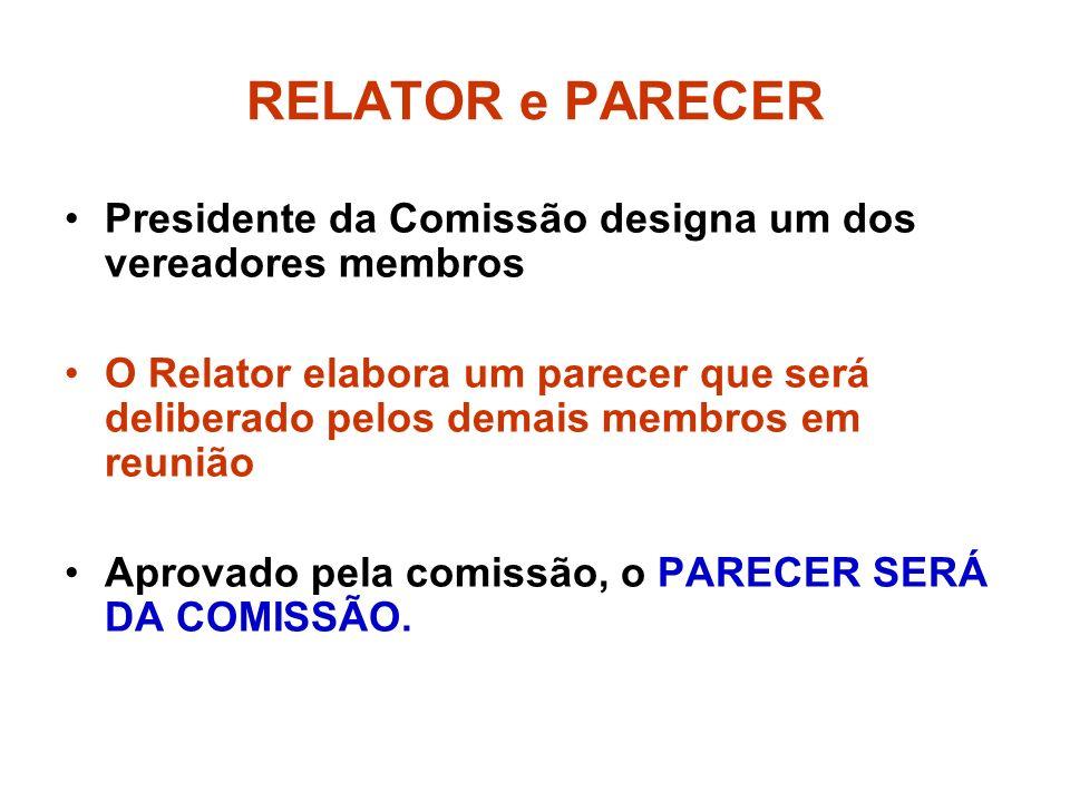 RELATOR e PARECER Presidente da Comissão designa um dos vereadores membros.