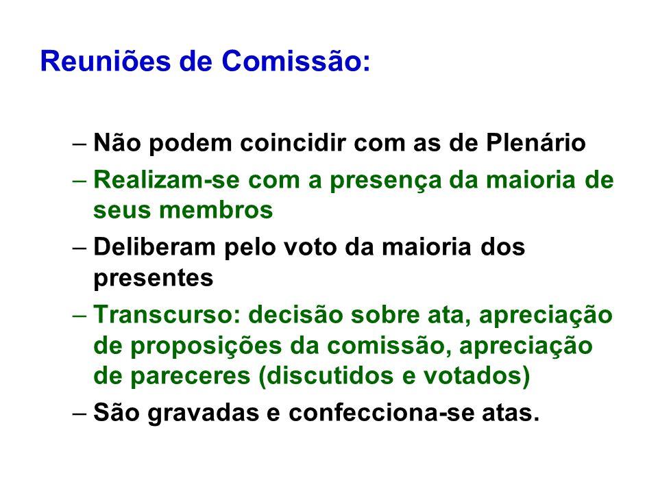 Reuniões de Comissão: Não podem coincidir com as de Plenário