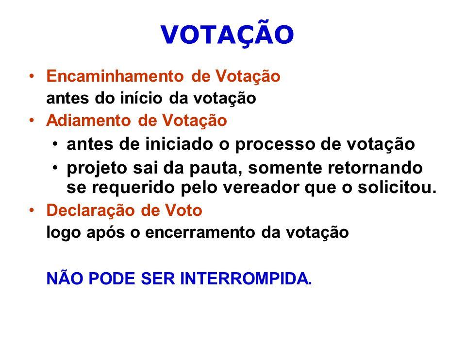 VOTAÇÃO antes de iniciado o processo de votação