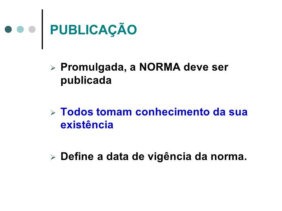 PUBLICAÇÃO Promulgada, a NORMA deve ser publicada