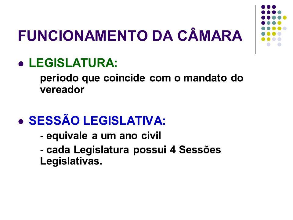 FUNCIONAMENTO DA CÂMARA