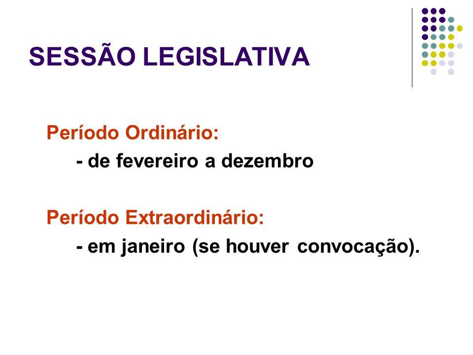 SESSÃO LEGISLATIVA Período Ordinário: - de fevereiro a dezembro