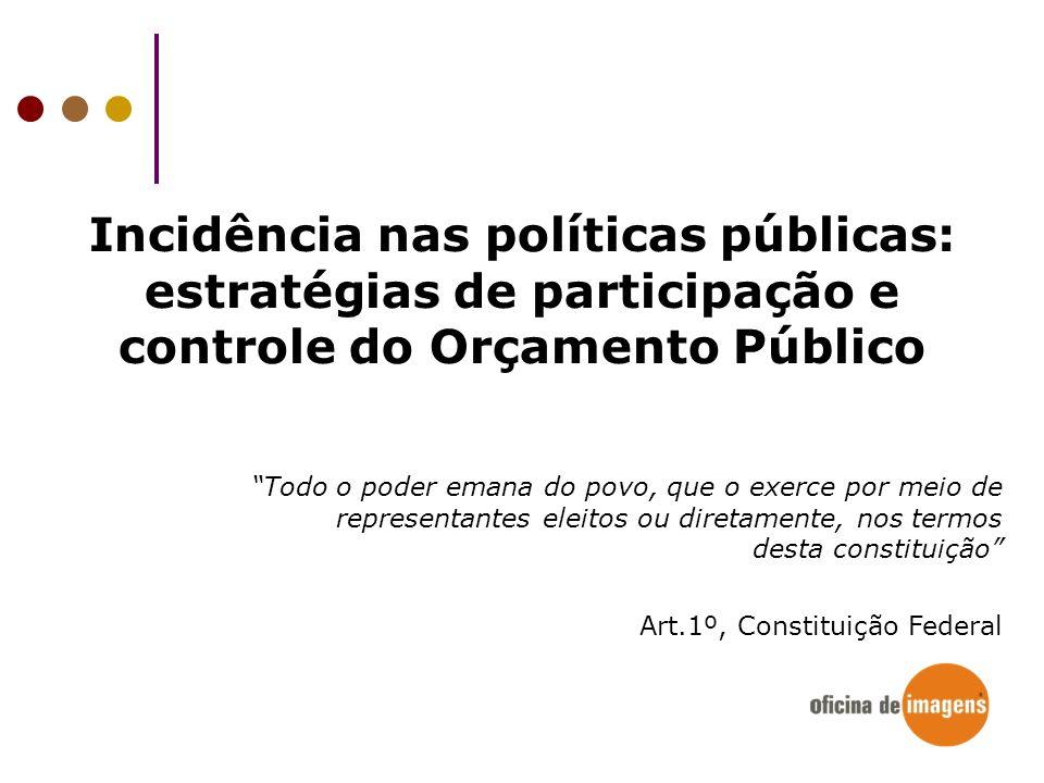 Incidência nas políticas públicas: estratégias de participação e controle do Orçamento Público