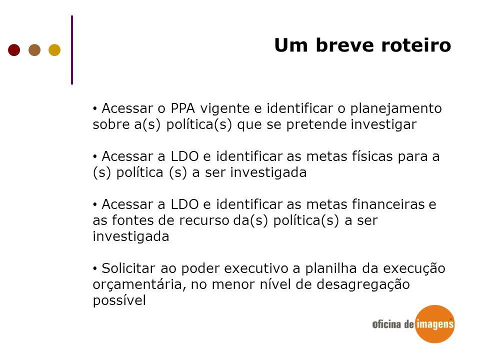 Um breve roteiro Acessar o PPA vigente e identificar o planejamento sobre a(s) política(s) que se pretende investigar.