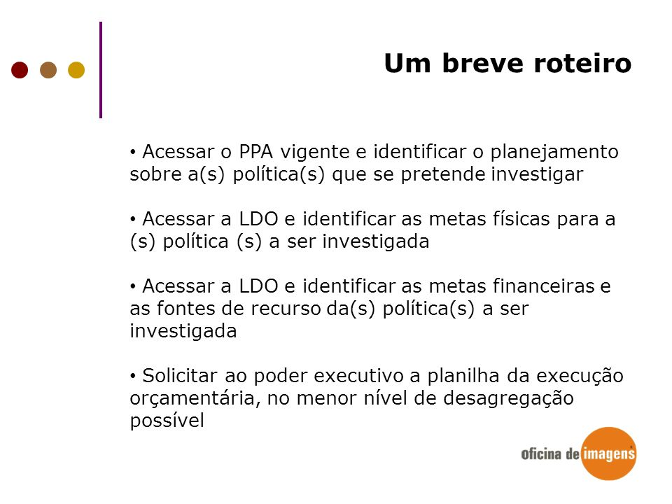 Um breve roteiroAcessar o PPA vigente e identificar o planejamento sobre a(s) política(s) que se pretende investigar.
