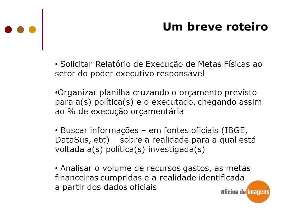 Um breve roteiro Solicitar Relatório de Execução de Metas Físicas ao setor do poder executivo responsável.