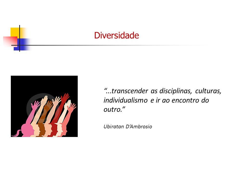 Diversidade ...transcender as disciplinas, culturas, individualismo e ir ao encontro do outro. Ubiratan D'Ambrosio.