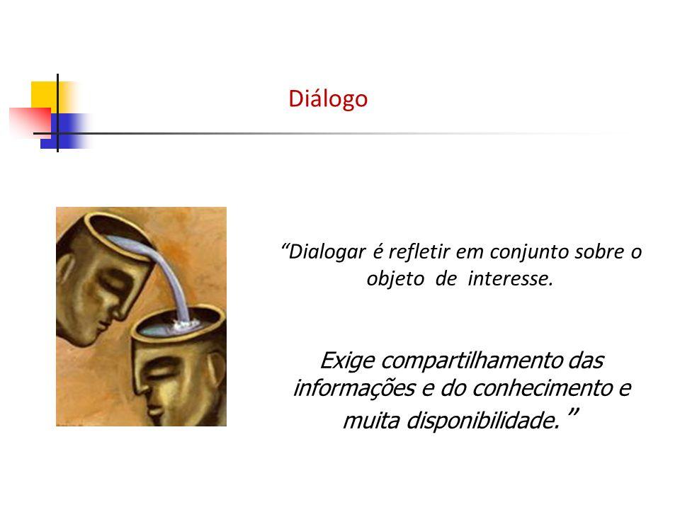 Dialogar é refletir em conjunto sobre o objeto de interesse.