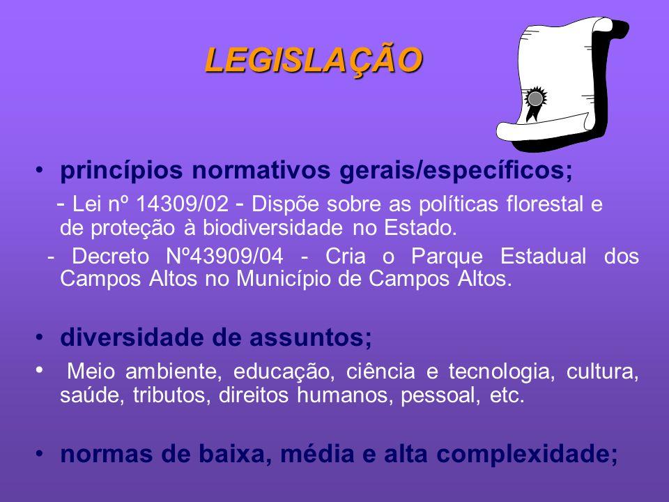 LEGISLAÇÃO princípios normativos gerais/específicos;