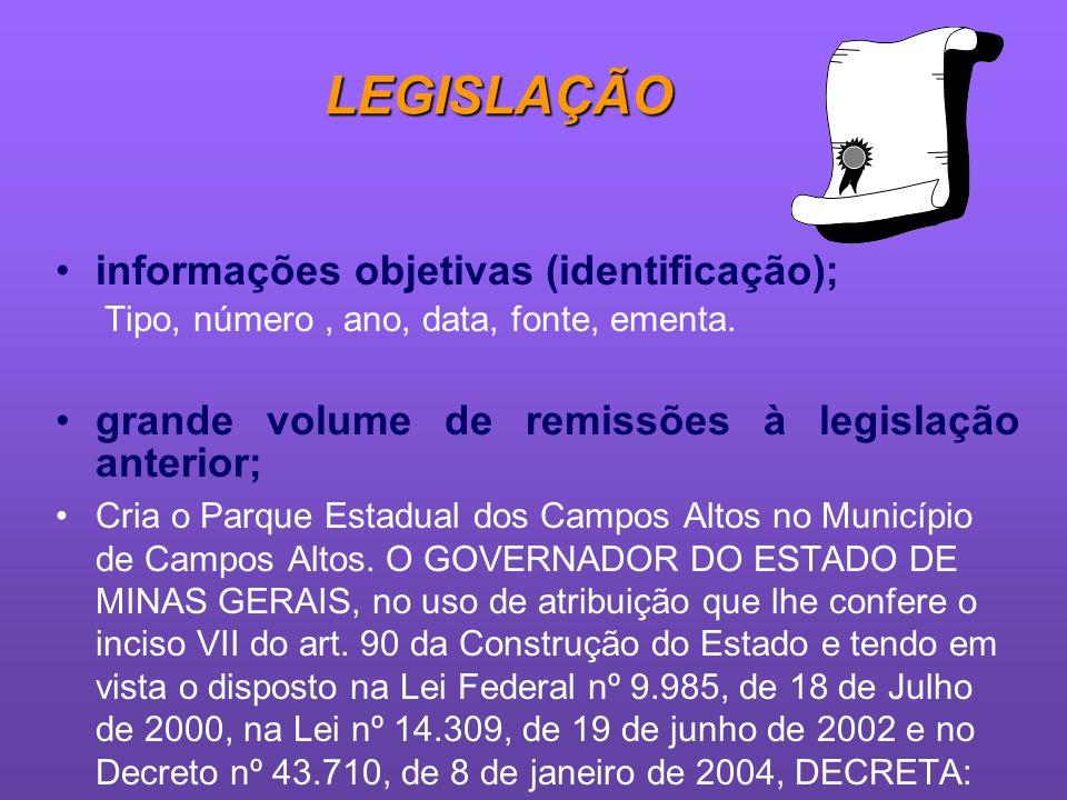 LEGISLAÇÃO informações objetivas (identificação);