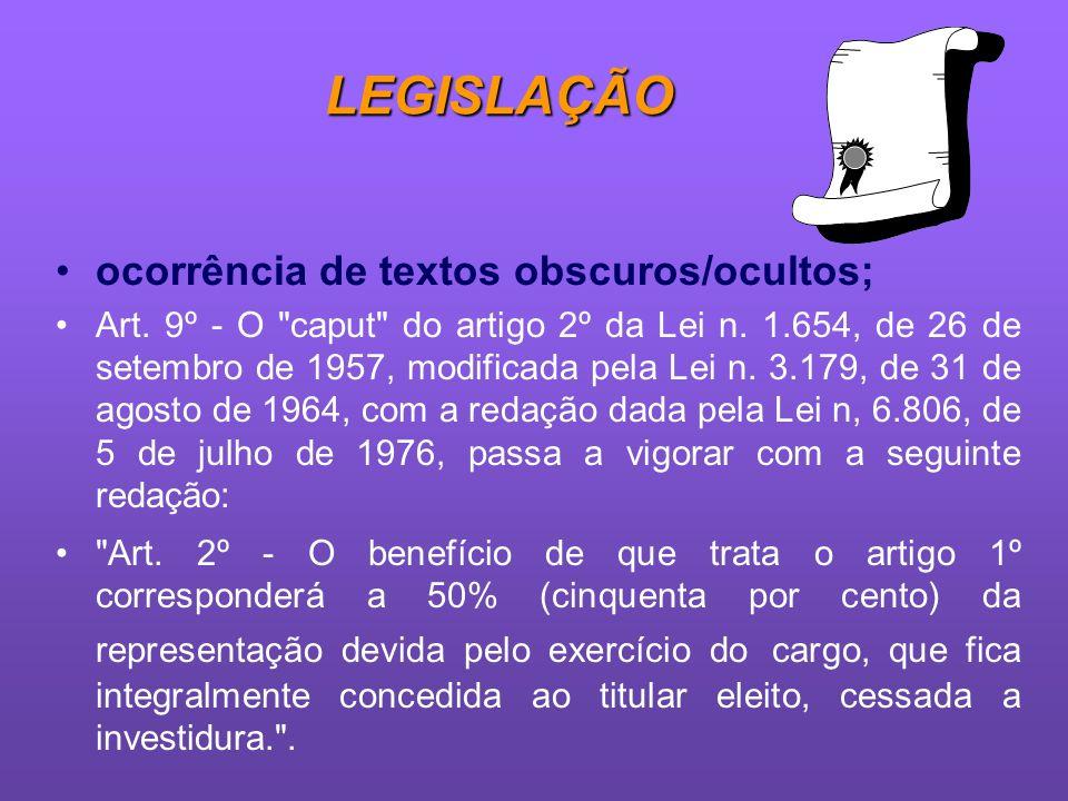 LEGISLAÇÃO ocorrência de textos obscuros/ocultos;
