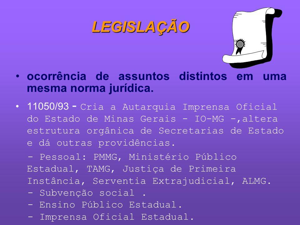 LEGISLAÇÃOocorrência de assuntos distintos em uma mesma norma jurídica.