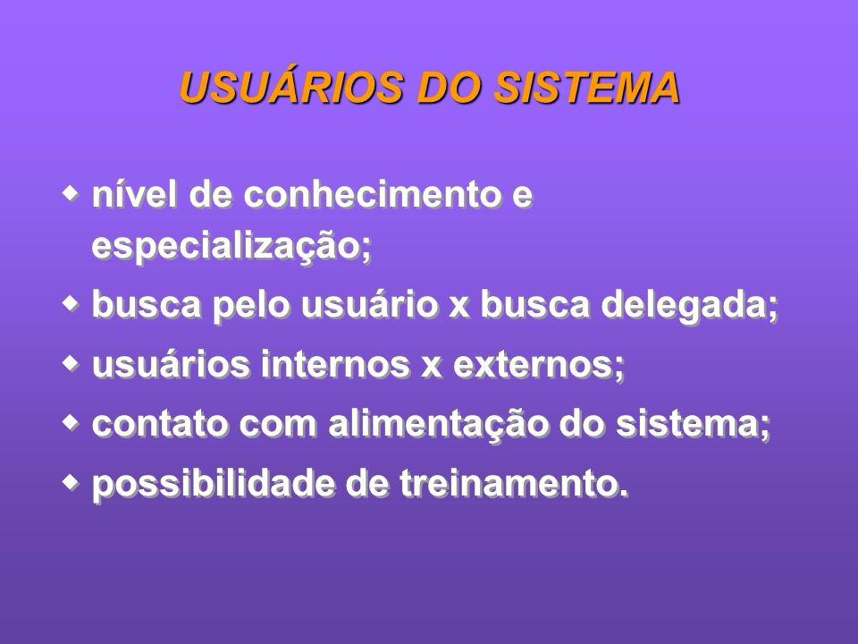 USUÁRIOS DO SISTEMA nível de conhecimento e especialização;